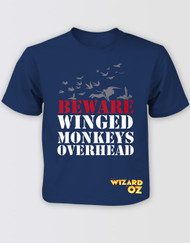 "The Wizard of Oz Kids Navy Tee ""Beware of the Winged Monkeys Overhead"""