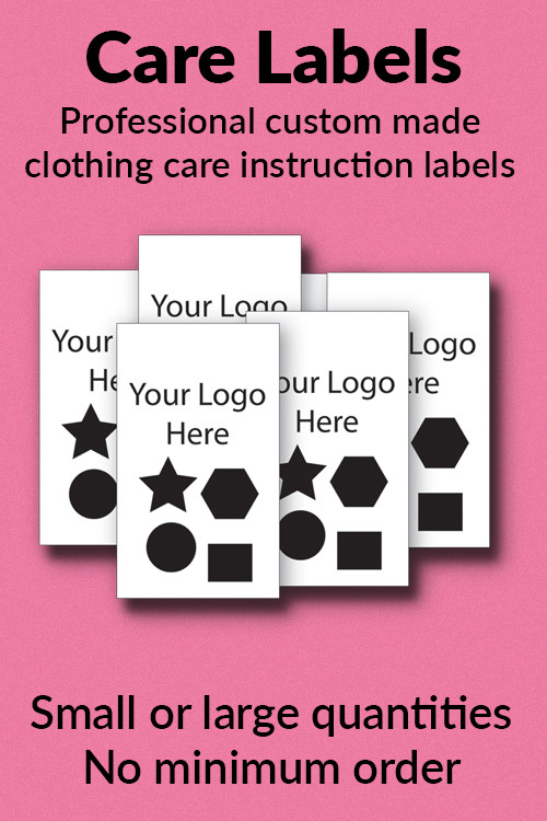 Easy Care and/or Washing instructions for your garments.  Maximum of 3 lines. You can request the third line in the comment box of your order.