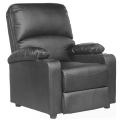KINO REAL BLACK LEATHER RECLINER ARMCHAIR w DRINK HOLDERS