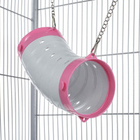 Beige Curved Ferret Play Tube With Chains - Pink End