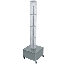 "Four-Sided Pegboard Tower Floor Display on Revolving Wheeled Metal Base. Panel Size: 4""W x 48""H"