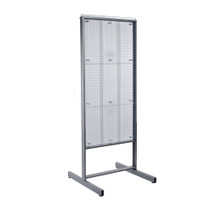 "Two-Sided Metal Frame Pegboard Floor Display. Panel Size: 24""W x 48""H"