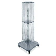 """Four-Sided Pegboard Floor Display on Revolving Wheeled Base. Panel Size: 8""""W x 40""""H"""