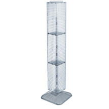 """Four-Sided Pegboard Floor Display on Revolving Base. Panel Size: 8""""W x 60""""H"""