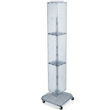 "Four-Sided Pegboard Floor Display on Wheeled Revolving Base. Panel Size: 8""W x 60""H"