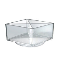 "Deluxe Clear Square Bin Four Compartment Revolving Desk Organizer 8""W x 8""D x 4""H"