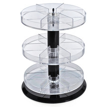 """Three Tier Revolving Display 13.5""""H x 11""""Dia. - 18 Sections"""
