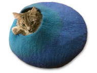 The Cat Cave is an irresistible hideout for your kitty.  Pictured here in Blue and Turquoise.