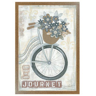 "ALP1165-426 BRN ""Journey "" is a 12"" x 18"" art print framed in a 426 Brown frame of the art of American artist,  Annie LaPoint. The art shows decorative elements including flowers in a basket, a vintage bicycle, musical notepaper, and the saying 'Bring Joy on the Journey' in natural vintage colors. The print has an archival, protective, textured finish so no glass is needed, and is ready to hang. Made in the USA by skilled American workers. Thank you for your support."
