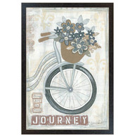 "ALP1165-426 BLK ""Journey "" is a 12"" x 18"" art print framed in a 426 Black frame of the art of American artist,  Annie LaPoint. The art shows decorative elements including flowers in a basket, a vintage bicycle, musical notepaper, and the saying 'Bring Joy on the Journey ' in natural vintage colors. The print has an archival, protective, textured finish so no glass is needed, and is ready to hang. Made in the USA by skilled American workers. Thank you for your support."