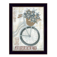 "ALP1165-712 BLK ""Journey"" is a 12"" x 18"" art print framed in a 712 Black frame of the art of American artist, Annie LaPoint. The art shows decorative elements including flowers in a basket, a vintage bicycle, musical notepaper, and the saying 'Bring Joy on the Journey' in natural vintage colors. The print has an archival, protective, textured finish so no glass is needed, and is ready to hang. Made in the USA by skilled American workers. Thank you for your support."