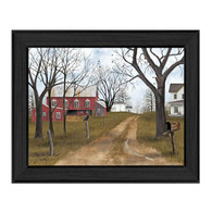 "BJ1089-405 BLK ""The Old Dirt Road"" is a 16"" x 12"" art print framed in a Colonial 405 Black frame of the art of American artist,  Billy Jacobs. The art shows a rustic setting of an old mailbox, a dirt road going up to a beautiful red barn, white country houses with trees and birds. The print has an archival, protective, textured finish so no glass is needed, and is ready to hang. Made in the USA by skilled American workers. Thank you for your support."