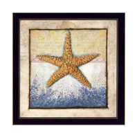"ED299-712 BLK ""Starfish"" is a 14""x14"" print framed in a 712 Black frame.  This artwork features a beautiful painting of a starfish and a mapped decorative background in beautiful subtle colors by artist Ed Wargo.  The print has an archival, protective, textured finish so no glass is needed, and is ready to hang. Made in the USA by skilled American workers. Thank you for your support."