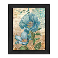 "ED304-405 BLK ""Paris Blue I"" is a 12""x16"" print framed in a Colonial 405 Black frame.  This artwork features a beautiful painting of blue flowers with a decorative background in beautiful subtle colors by artist Ed Wargo.  The print has an archival, protective, textured finish so no glass is needed, and is ready to hang. Made in the USA by skilled American workers."