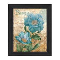 "ED305-405 BLK ""Paris Blue II"" is a 12""x16"" print framed in a Colonial 405 Black frame.  This artwork features a beautiful painting of blue flowers with a decorative background in beautiful subtle colors by artist Ed Wargo.  The print has an archival, protective, textured finish so no glass is needed, and is ready to hang. Made in the USA by skilled American workers."