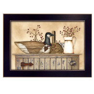 "LS1547-712 BLK ""Duck and Berry Still life"" is a 20""x14""print framed in a 712 Black frame.  This artwork by artist Linda Spivey. features a rustic hutch with a top shelf full of beautiful primitive style keepsakes including wooden goose carving, woven basket, pitcher, rosehip berries, and a blue gingham napkin. The print has an archival, protective, textured finish so no glass is needed, and is ready to hang. Made in the USA by skilled American workers. Thank you for your support."