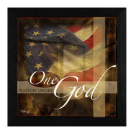 "MA125-276 BLK ""One Nation Under God"" is a 14""x14"" print framed in a 276 Black frame.  This artwork by artist Marla Rae. features a design of an American flag with the text ƒ??One Nation Under Godƒ?. The print has an archival, protective, textured finish so no glass is needed, and is ready to hang. Made in the USA by skilled American workers. Thank you for your support."
