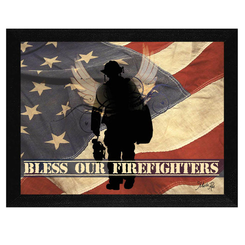 "MA191-276 BLK ""Bless our Firefighters"" is a 16""x12"" print framed in a 276 Black frame.  This artwork by artist Marla Rae.  features a design of an American flag with a silhouette of a firefighter and the text ""Bless Our Firefighters"". The print has an archival, protective, textured finish so no glass is needed, and is ready to hang. Made in the USA by skilled American workers. Thank you for your support."