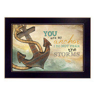 "MA1006-712BLK ""You are my Anchor"" is a 18""x12"" art print framed in 712 Black of the art of American artist, Marla Rae. It shows a decorative artwork of a row boat with a paddle in a lake and the script ""You are my anchor. I do not fear the storms"". The print has an archival, protective, textured finish so no glass is needed, and is ready to hang. Made in the USA by skilled American workers."
