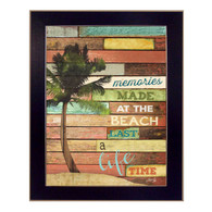 "MA1100-712 BLK ""Beach Memories"" is a 12""x16"" art print framed in a 712 Black frame. Artist Marla Rae designed a beautiful palm tree and used interesting textured design with typography ""Memories made at the beach last a lifetime."" The framed art print has a protective textured, archival finish, so no glass is needed, and comes ready to hang. Made in the USA with pride!"