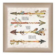 MA2084-636 ML ƒ??Follow your Dreamsƒ? is a 12ƒ?x12ƒ? art print framed in 636 Mountain Larch of the art of American artist Marla Rae. The art shows 4 decorative arrows with the text ƒ??Follow your Dreamsƒ?. T