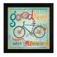 MOL1319-276 BLK ƒ??Good Things Happenƒ? is a 12ƒ?x12ƒ? print framed in 276 Black of the art of Mollie B. The art shows a colorful, decorative bike with text ƒ??good things happen when you go on itƒ? The print has an archival, protective, textured finish so no glass is needed, and is ready to hang. Made with pride in the USA by skilled American workers.