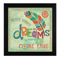 MOL1320-276 BLK ƒ??Dreams Come Trueƒ? is a 12ƒ?x12ƒ? print framed in 276 Black of the art of Mollie B. The art shows a colorful, decorative feather with text ƒ??Never forget dreams really do come trueƒ? The print has an archival, protective, textured finish so no glass is needed, and is ready to hang. Made with pride in the USA by skilled American workers.