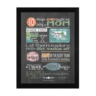 "TLC353-276 BLK ""Reminders from Mom"" is a 12""x16"" print framed in 276 Black of the art of American artist Tonya Crawford. This art has typography on a chalkboard style background about things a good mother might teach. The print has an archival, protective, textured finish so no glass is needed, and is ready to hang. Made with pride in the USA by skilled American workers."