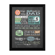 "TLC360-276 BLK ""Reminders from Dad"" is a 12""x16"" print framed in 276 Black of the art of American artist Tonya Crawford. This art has typography on a chalkboard style background about things a good father might teach. The print has an archival, protective, textured finish so no glass is needed, and is ready to hang. Made with pride in the USA by skilled American workers."