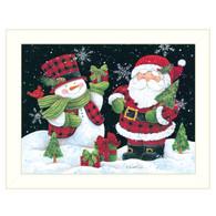 """ART1050-712W  """"Plaid Snowman and Santa"""""""