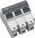 3-POLE FUSE BLOCK FOR MIDGET FUSE (1-1/2 x 13/32), BLOWN FUSE,  30A Max