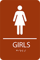 girl s ada restroom sign with braillle