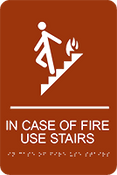 In Case of Fire Use Stairs ADA Sign