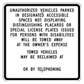 California Unauthorized Vehicles Sign