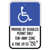 Florida Handicap Parking Sign - Parking by Disabled Permit Only - $250 Fine