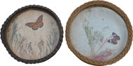 17078 Two Antique Wicker Trays with Butterflies