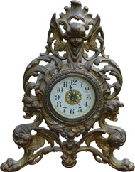 2956 Victorian Cast Metal Mantle Clock with Devil Heads and Angel