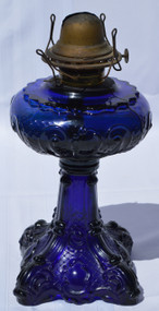 2906 Antique Blue Stemmed Filigree Pedestal Oil Lamp – Rare