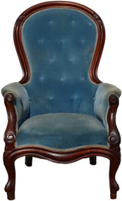 17165 Victorian Blue Gentleman's Arm Chair