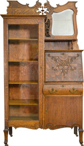 17241 Oak Bookcase Slant Top Secretary Desk with bevel Mirror