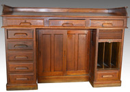 SOLD Rare Oak Raised Panel Railroad Master's Desk