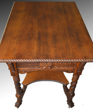 17108 Oak Carved Lion Face Library Table