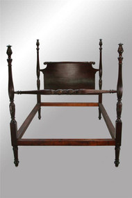 SOLD Antique Mahogany Pineapple Fluted Poster Bed