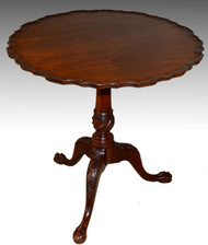 17223 Custom Chippendale Bird Cage Tilt Top Carved Table