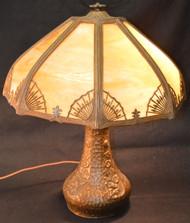 17105 Caramel Slag Glass Panel Lamp – Handel Type