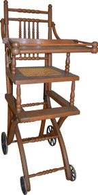 17144 Antique Oak Children's Up and Down High Chair / Stroller