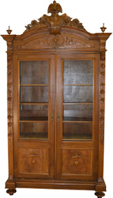 SOLD Walnut Carved Victorian Bookcase Wardrobe Armoire