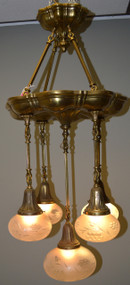 SOLD Victorian Large Brass Hanging Ceiling Lamp w/5 Shades