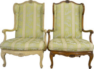 17290 Pair of French Provincial Carved Wingback Arm Chairs