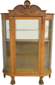 SOLD Oak Carved Curve Glass China Closet with Big Claw Feet